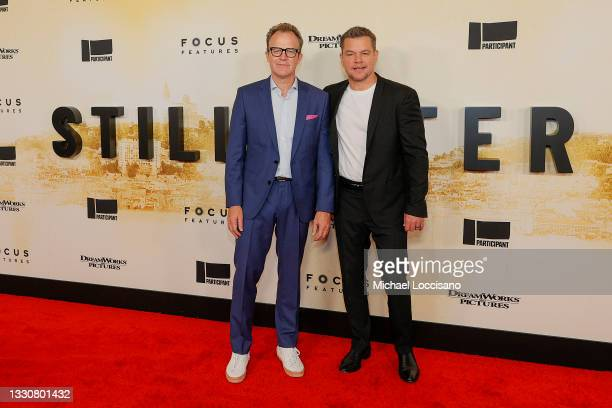 """Tom McCarthy and Matt Damon attend the """"Stillwater"""" New York Premiere at Rose Theater, Jazz at Lincoln Center on July 26, 2021 in New York City."""