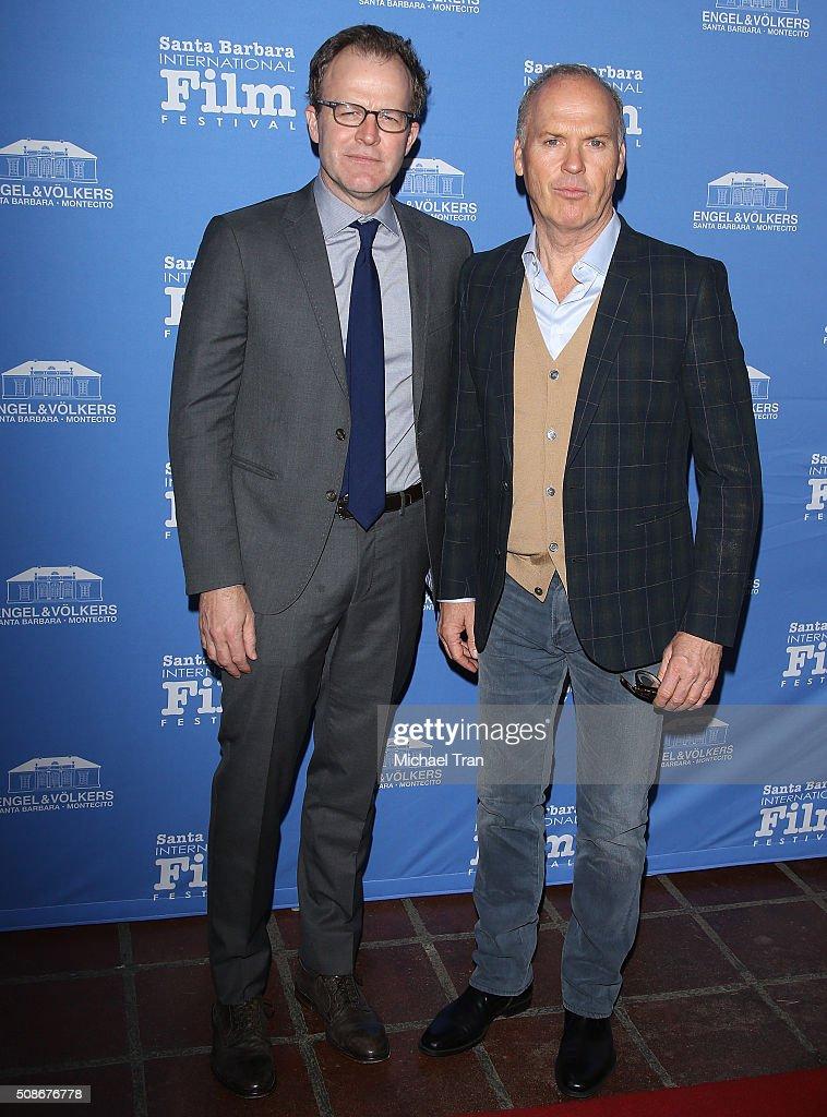 Tom McCarthy (L) and Michael Keaton arrive at the American Riviera Award during The 31st Santa Barbara International Film Festival held at Arlington Theatre on February 5, 2016 in Santa Barbara, California.