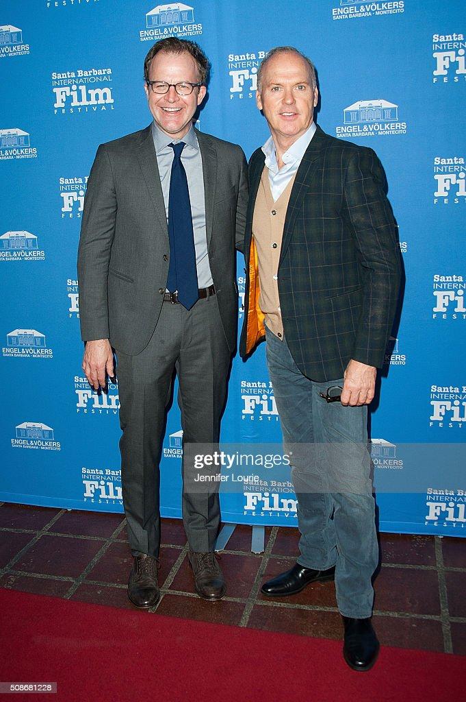 Tom McCarthy and Michael Keaton arrive at the presentation of the American Riviera Award at the 31st Santa Barbara International Film Festival at the Arlington Theatre on February 5, 2016 in Santa Barbara, California.