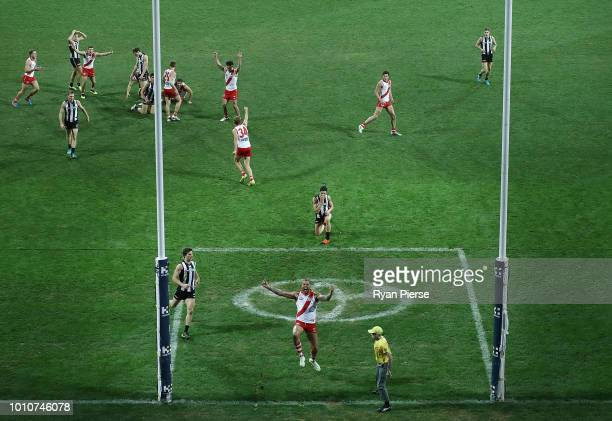 Tom McCartin and Lance Franklin of the Swans of the Swans celebrate after McCartin kicked the winning goal during the round 20 AFL match between the...