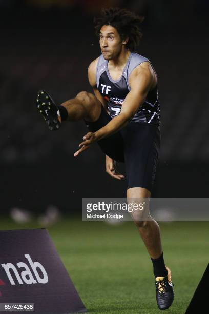 Tom McCartin from the Geelong Falcons Aiden Bonar of West Perth kicks the ball during the AFLW Draft Combine at Etihad Stadium on October 4 2017 in...