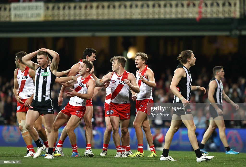 Tom McCartin of the Swans celebrates after kicking the winning goal during the round 20 AFL match between the Sydney Swans and the Collingwood Magpies at Sydney Cricket Ground on August 4, 2018 in Sydney, Australia.