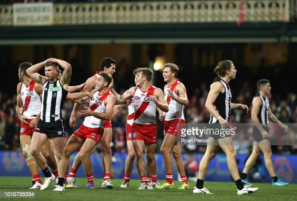 Tom McCartin of the Swans celebrates after kicking the winning goal during the round 20 AFL match between the Sydney Swans and the Collingwood...
