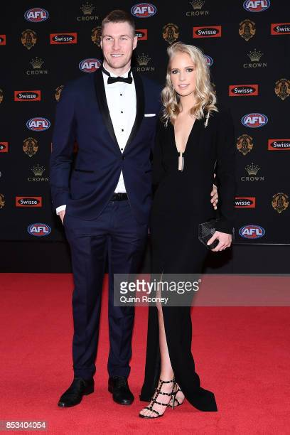 Tom McDonald and partner Ruby Sweeney arrive ahead of the 2017 Brownlow Medal at Crown Entertainment Complex on September 25 2017 in Melbourne...