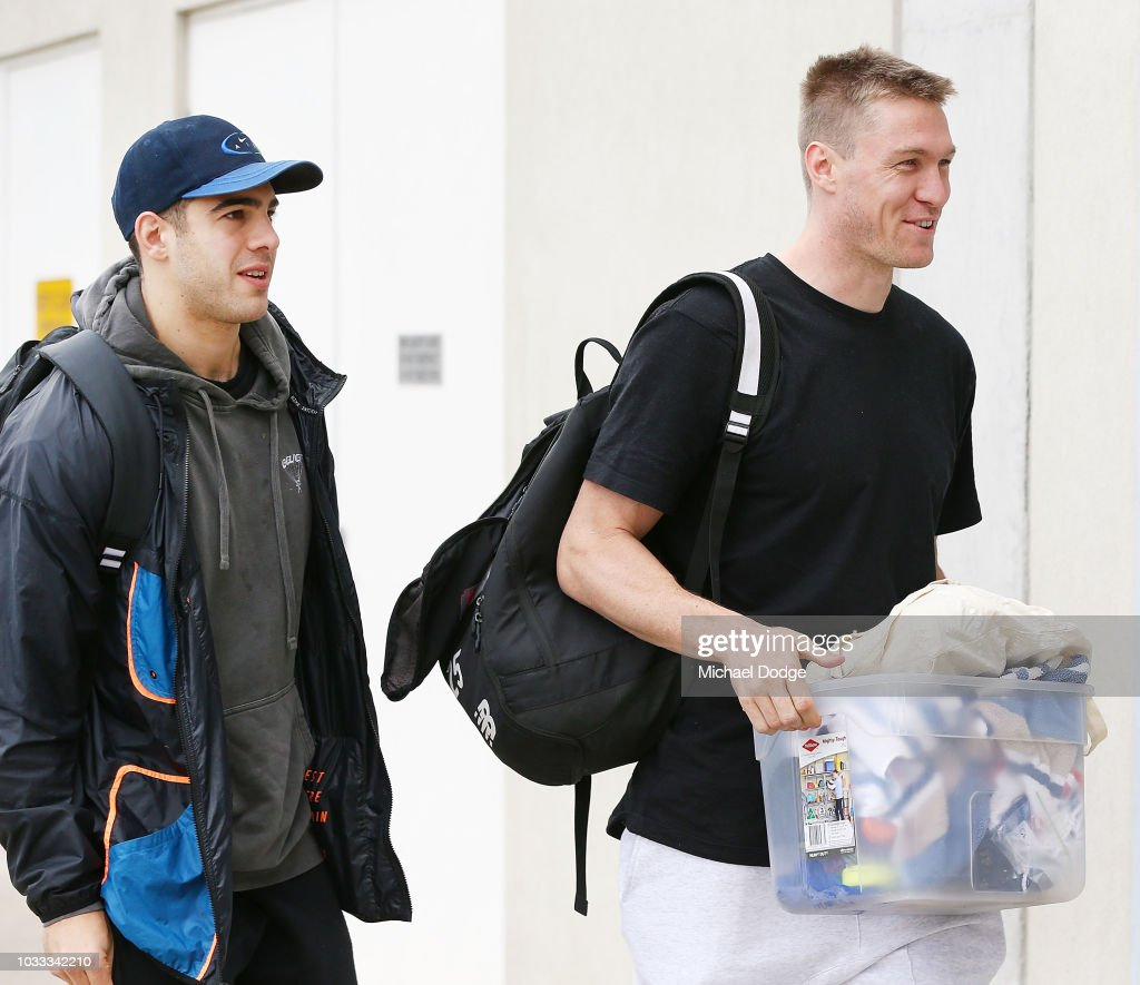 Tom McDonald (R) arrives with Christian Petracca to his Melbourne Demons AFL press conference at AAMI Park on September 15, 2018 in Melbourne, Australia.