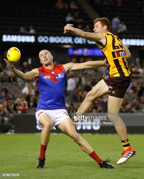 Tom McDonald of the Demons and Tim O'Brien of the Hawks compete for the ball during the AFLX Grand Final match between the Melbourne Demons and the...