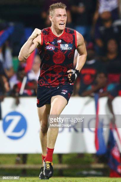 Tom McDonald of the Demons celebrates a goal during the round 16 AFL match between the Melbourne Demons and the Fremantle Dockers at TIO Stadium on...