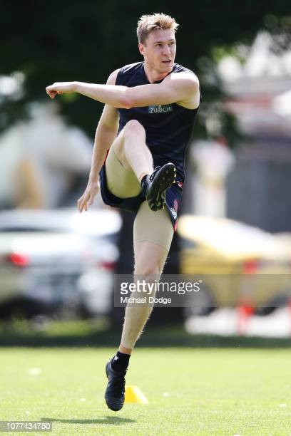 Tom McDonald of the Demons kicks the ball during a Melbourne Demons AFL training session at Gosch's Paddock on December 05 2018 in Melbourne Australia