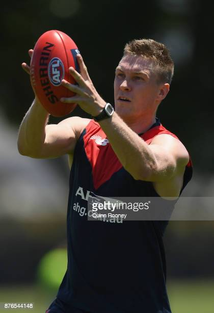 Tom McDonald of the Demons marks during a Melbourne Demons AFL preseason training session at Gosch's Paddock on November 20 2017 in Melbourne...