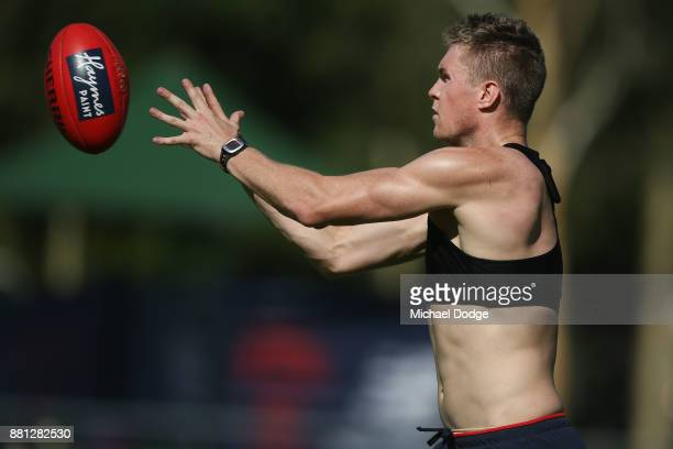 Tom McDonald of the Demons marks the ball during a Melbourne Demons AFL training session at Gosch's Paddock on November 29 2017 in Melbourne Australia