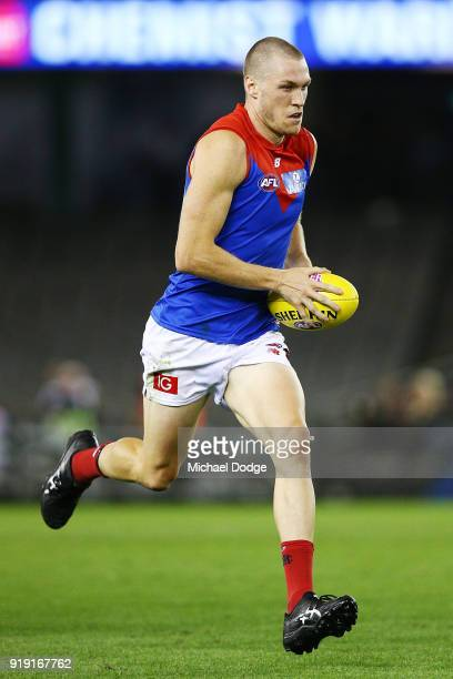 Tom McDonald of the Demons runs with the ball during the AFLX match night at Etihad Stadium on February 16 2018 in Melbourne Australia