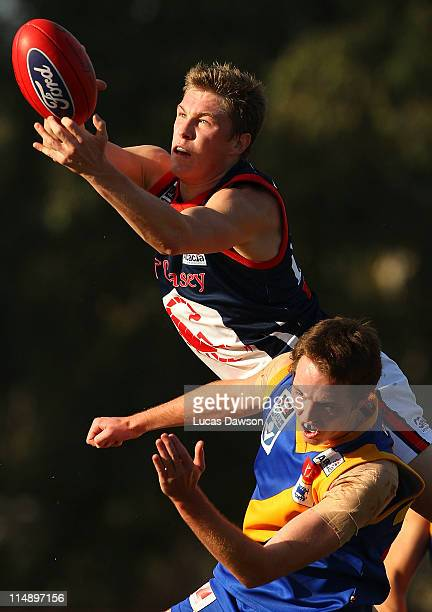 Tom McDonald of the Scorpions marks the ball during the round nine VFL match between Willimastown and Casey Scorpions at Chirnside Park on May 28,...