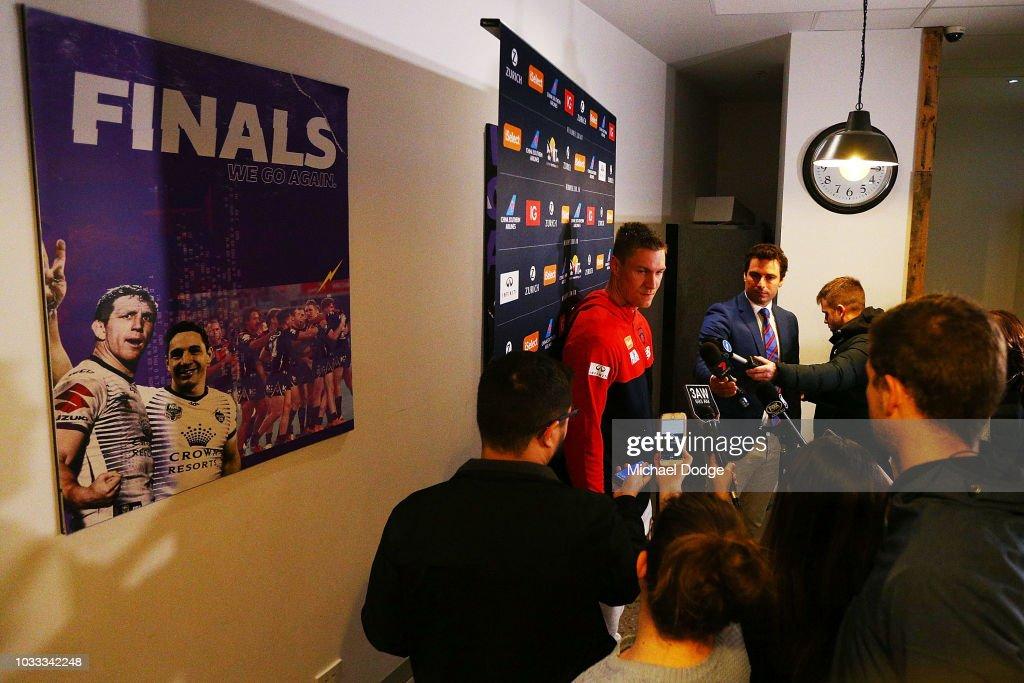 Tom McDonald speaks to the media during a Melbourne Demons AFL press conference at AAMI Park on September 15, 2018 in Melbourne, Australia.