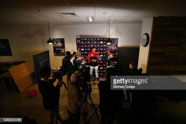 Tom McDonald speaks to the media during a Melbourne Demons AFL press conference at AAMI Park on September 15 2018 in Melbourne Australia