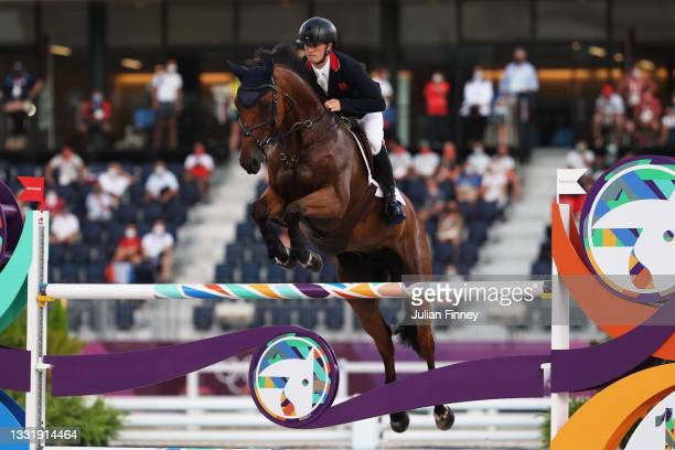 Tom Mcewen of Team Great Britain riding Toledo de Kerser competes during the Eventing Jumping Team Final and Individual Qualifier on day ten of the...