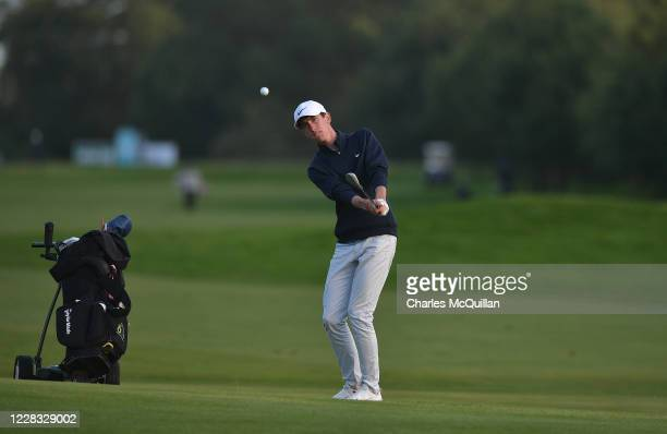 Tom McKibbon plays a shot during day one of the Northern Ireland Open supported by The R&A at Galgorm Spa & Golf Resort on September 3, 2020 in...