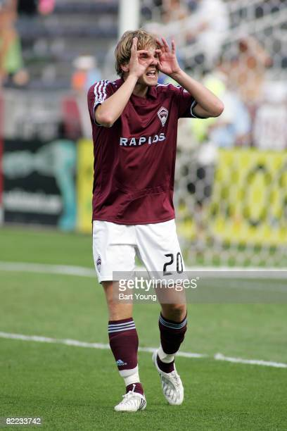 Tom McManus of the Colorado Rapids reacts to a call against Toronto FC during the MLS game on August 9 2008 at Dicks Sporting Goods Park in Commerce...