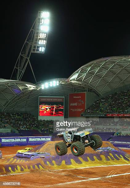 Tom Meents driving MaxD jumps during Monster Jam at AAMI Park on October 4 2014 in Melbourne Australia
