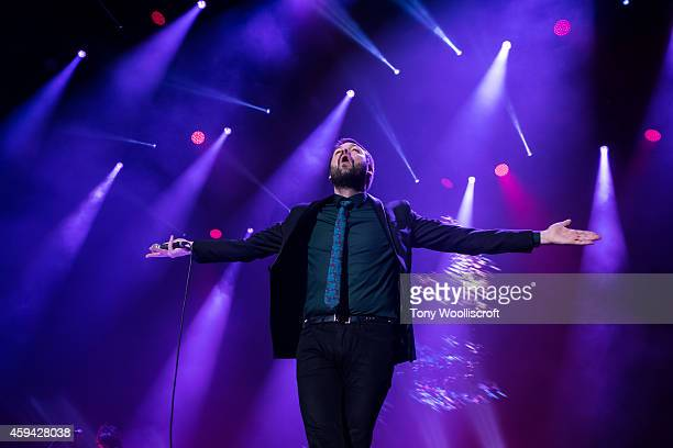 Tom Meigham of Kasabian performs at LG Arena on November 22 2014 in Birmingham England