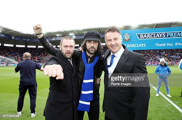 Tom Meighan and Serge Pizzorno of Kasabian with Steve Walsh of Leicester City before the Premier league match between Leicester City and Southampton...