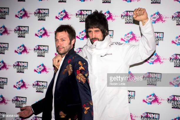 Tom Meighan and Sergio Pizzorno of Kasabian attend the VO5 NME Awards held at Brixton Academy on February 14 2018 in London England