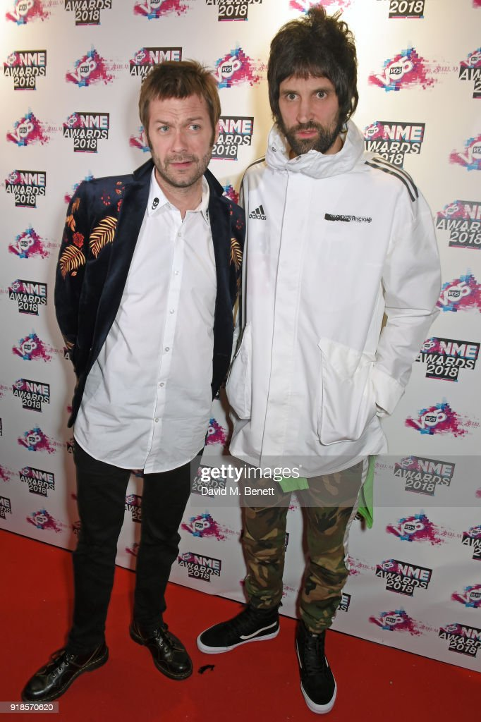 Tom Meighan and Sergio Pizzorno of Kasabian attend the VO5 NME Awards held at Brixton Academy on February 14, 2018 in London, England.