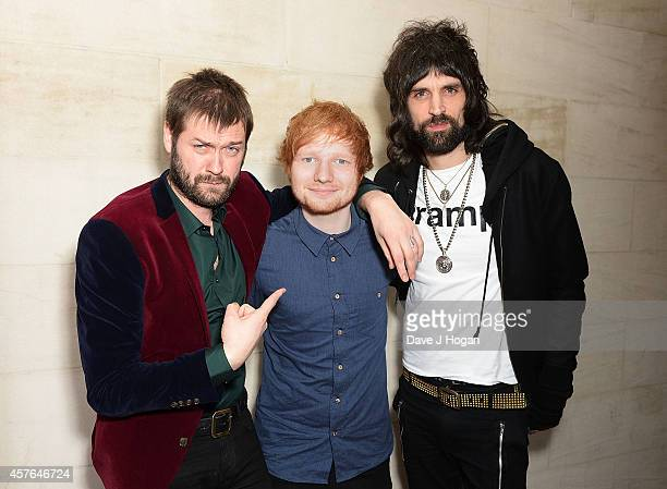 Tom Meighan Ed Sheeran and Sergio Pizzorno attend the Xperia Access Q Awards at The Grosvenor House Hotel on October 22 2014 in London England