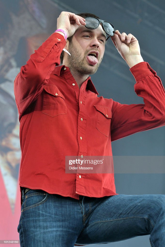 Tom Meighan of Kasabian performs during the first day of Pink Pop Festival on May 28, 2010 in Landgraaf, Netherlands.