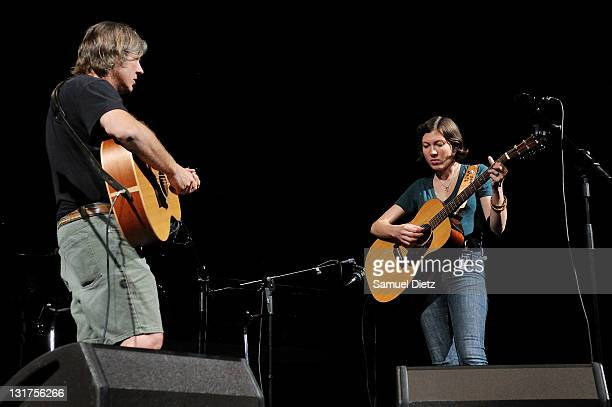 Tom Menig and Alela Diane of Alela Diane Duo perform during the soundcheck of their live performance at the first edition of the Days Off Festival at...