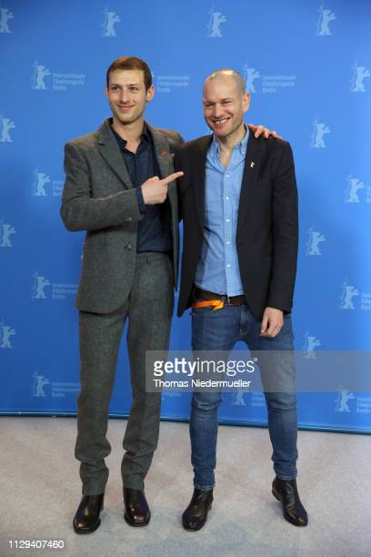 Tom Mercier and director Nadav Lapid pose at the Synonymes photocall during the 69th Berlinale International Film Festival Berlin at Grand Hyatt...