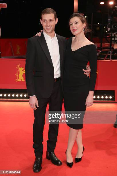 Tom Mercier and Louise Chevillotte attend the Synonymes premiere during the 69th Berlinale International Film Festival Berlin at Berlinale Palace on...