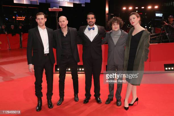 Tom Mercier Director Nadav Lapid Jonathan Boudina Quentin Dolmaire and Louise Chevillotte attend the 'Synonymes' premiere during the 69th Berlinale...
