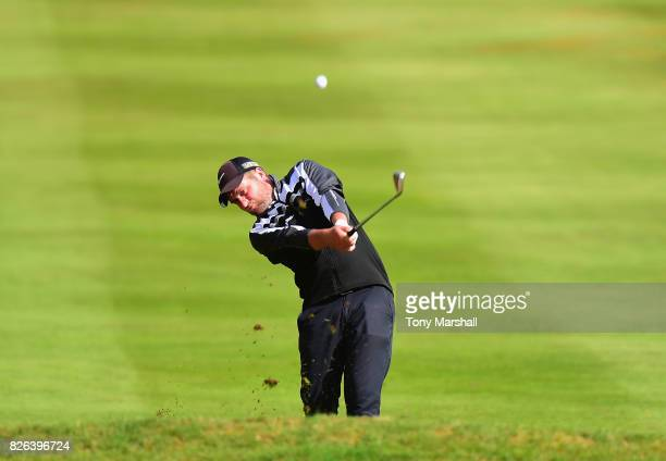 Tom Metcalfe of Gathurst Golf Club plays his second shot on the 1st fairway during Day Three of the Galvin Green PGA Assistants' Championship at...