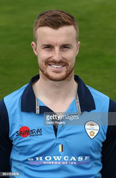 Tom Milnes poses in the Royal London OneDay Cup kit during the Derbyshire County Cricket photocall held at The 3aaa County Ground on April 4 2017 in...
