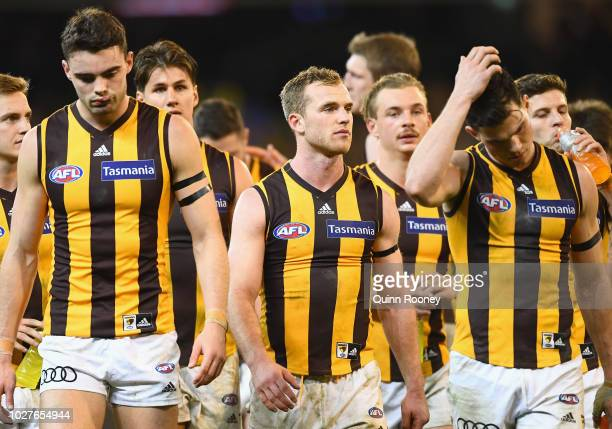 Tom Mitchell and Jaeger O'Meara of the Hawks look dejected after losing the AFL First Qualifying Final match between the Richmond Tigers and the...