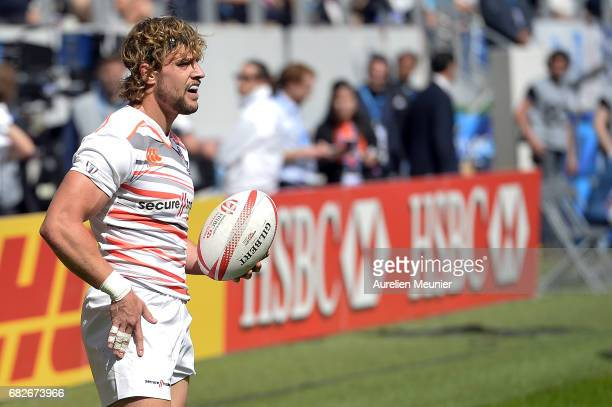 Tom Mitchell of England reacts during the HSBC rugby sevens match between France and England on May 13 2017 in Paris France