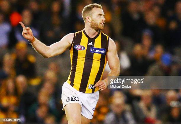 Tom Mitchell of the Hawks celebrates a goal during the round 18 AFL match between the Carlton Blues and the Hawthorn Hawks at Etihad Stadium on July...
