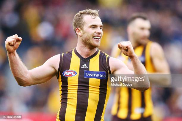 Tom Mitchell of the Hawks celebrates the win on the final siren during the round 20 AFL match between the Hawthorn Hawks and the Essendon Bombers at...