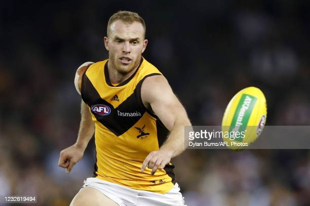 Tom Mitchell of the Hawks looks on during the 2021 AFL Round 07 match between the St Kilda Saints and the Hawthorn Hawks at Marvel Stadium on May 01,...