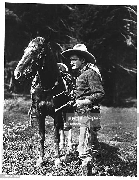 Tom Mix an American actor who starred in silent westerns and Wild West shows in the early twentieth century | Location outdoors