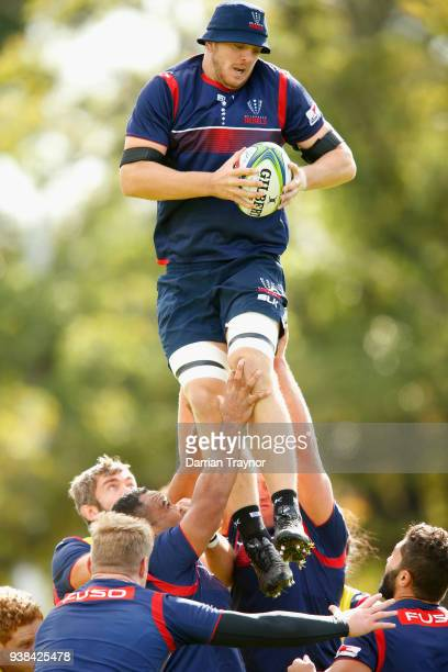 Tom Moloney takes the ball from a line out during a Melbourne Rebels Super Rugby training session at Goschs Paddock on March 27 2018 in Melbourne...