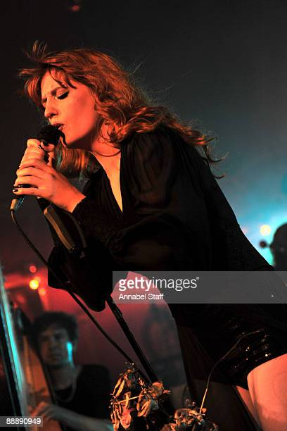 Tom Monger and Florence Welch perform on stage at the launch party for the new album 'Lungs' at The Rivoli Ballroom on July 7 2009 in London England
