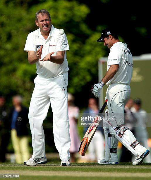 Tom Moody in action during Shane Warne's Australia vs Michael Vaughan's England T20 match at Cirencester Cricket Club on June 09 2013 in Cirencester...