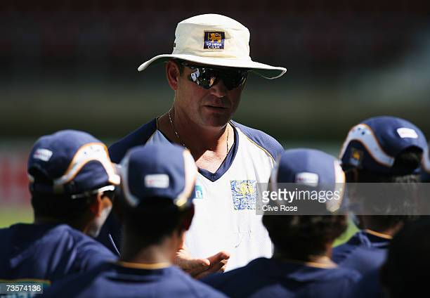 Tom Moody of Sri lanka gives instruction during the Sri Lanka nets session at the Queens Park Oval Cricket Ground on March 14 2007 in Port of Spain...