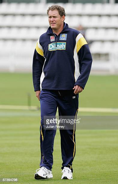 Tom Moody the Sri Lanka coach looks on during a practice session at Lords on April 21 2006 in London England