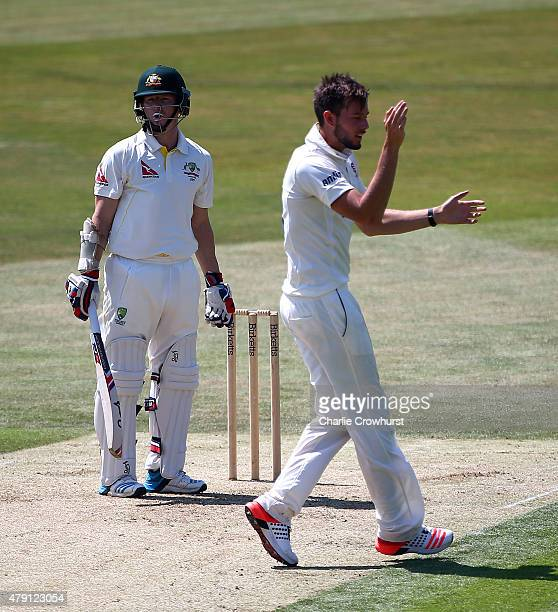 Tom Moore of Essex celebrates after taking the wicket of Chris Rogers of Australia's during day one of the tour match between Essex and Australia at...