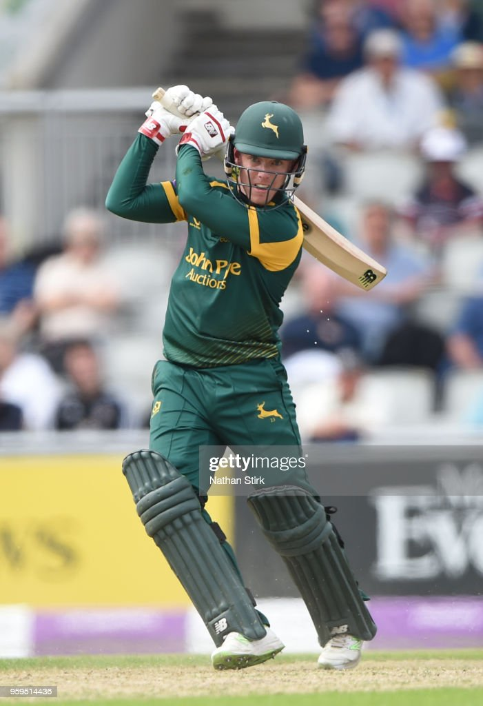 Tom Moores of Nottingham in action during Royal London One-Day Cup match between Lancashire and Nottinghamshire at Old Trafford on May 17, 2018 in Manchester, England.