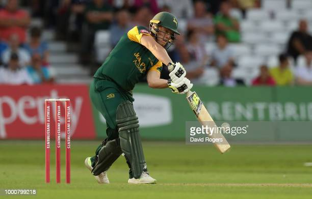 Tom Moores of Nottinghamshire hits a four during the Vitality Blast match between Nottinghamshire Outlaws and Durham Jets at Trent Bridge on July 17...