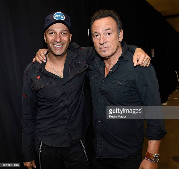 Tom Morello and Bruce Springsteen attend the 25th anniversary MusiCares 2015 Person Of The Year Gala honoring Bob Dylan at the Los Angeles Convention...