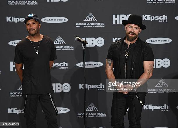 Tom Morello and Zac Brown attend the 30th Annual Rock And Roll Hall Of Fame Induction Ceremony at Public Hall on April 18, 2015 in Cleveland, Ohio.